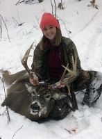 2019: Isabel Abrams of Piseco with her 170-pound, 9-pointer taken Nov. 2 in Lake Pleasant, Hamilton County.