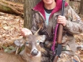 2017: Patty Ladd of Kingsbury with her first deer, a fine spike horn taken Dec. 3 (the last day of rifle season) while hunting with the Iron Sight Gang in Warren County.