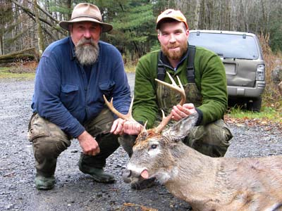 Dane Insogna (right, with father, Russ with a 185-pound, 8 pointer taken near Middle Sprite Creek in Town of Caroga, Nov. 10.