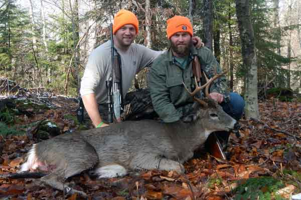 Ethan and Chad Johnson with Chad's 150-pound, 6-pointer taken at Camp Witamy in Hamilton County
