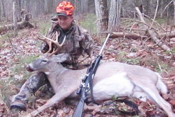 Pete Fisk with a 135-pound, 8-pointer taken Nov. 13 in Waterford, Essex County
