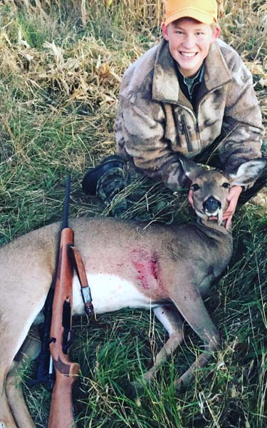 Gabe Mann of Queensbury with his first deer; a 130-pound doe taken on Oct. 10 during New York's Youth Hunting weekend