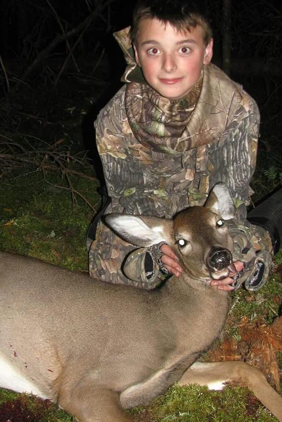 Camren Beckwith, age 12, recently got his first deer during the archery season while hunting with his father, Randy Beckwith.