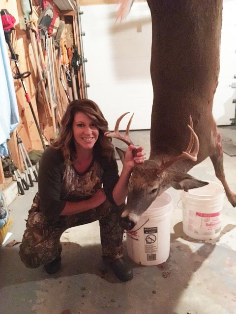 Kristine Barth of Guilderland with a 180-pound, 8-pointer take-in Salisbury, Herkimer County