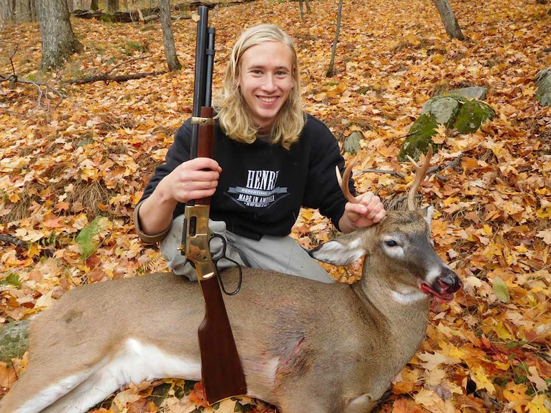 Christian Chaney of Hartford, NY with his first Adirondack buck: a 131-pound, 4-pointer taken Oct. 30 in Hogtown with the Iron Site Gang.