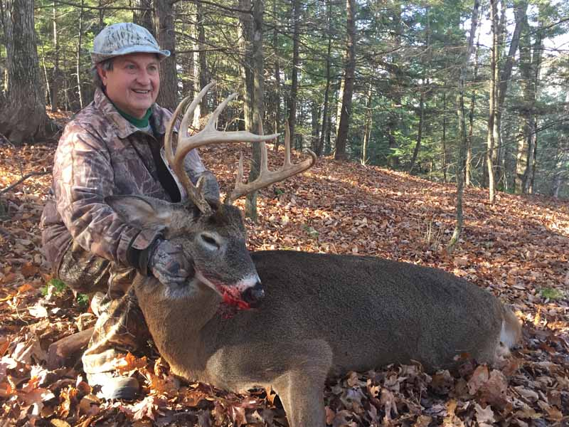 Carl DeCesare of Schroon Lake with another nice buck. This one a 180-pound, 11-pointer taken Nov. 12 near Schroon Lake with the Welch crew