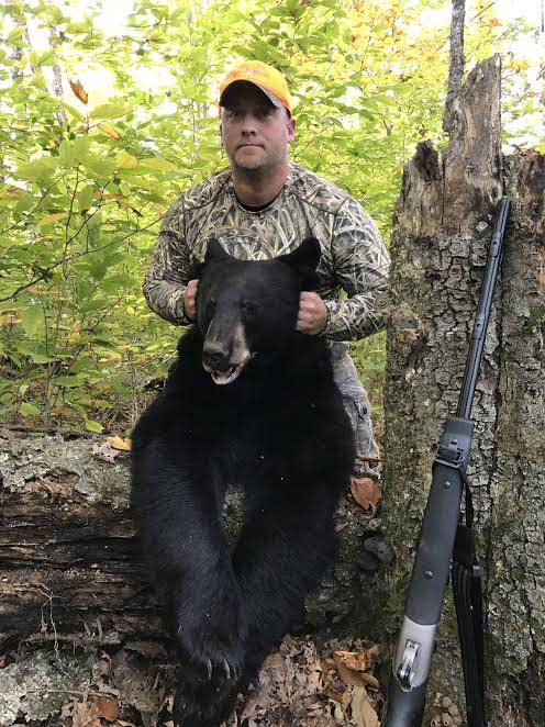 2016: Jamie Chase of Williston, VT with a 300-pound black bear taken Oct. 15, opening day of Northern Zone Muzzleloading Season, in Hamilton County.