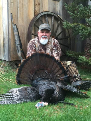 Jimmer Sherman scores again in Essex County: this one was 18.4 - pounds with a 9-inch beard and 3/4'-inch spurs. taken on May 2
