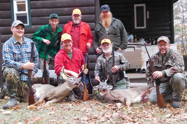 2017: The Iron Sight Gang with a pair of 5-pointers taken in Northern Warren County before they headed for Maine. Dan Ladd, 127-pounds, Rick Goodman, 117-pounds.