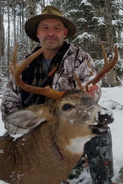 2017: Mark Shelhamer with a 150-pound, 7-pointer taken Nov. 27 in Raquette Lake.