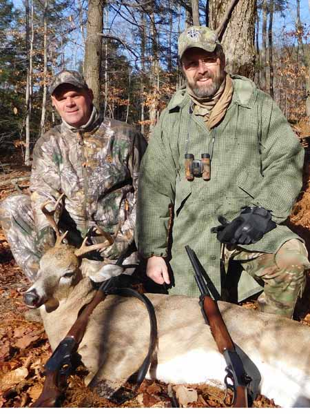 2017: Bill Bell and Ed Ladd Jr. teamed up on this 7-pointer taken Thanksgivnig Day with the Iron Sight Gang in Hogtown, NY.