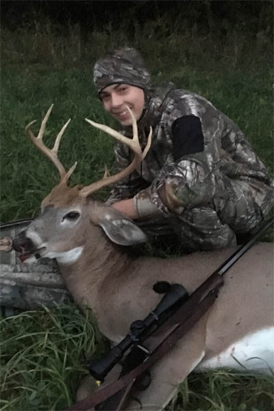 Not an Adirondack buck, but a fine one from a young hunter. Thomas Albright, age 15 of Esperance, NY, with his first deer, an 8-pointer Oct. 7 during the youth season in Schoharie County.