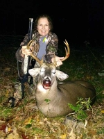 2018: Chantal Couture of Saratoga with 180-pound, 10-pointer taken during the early muzzleloading season in Indian Lake, Hamilton County.