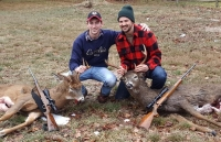 2017: Fourth generation Adirondack deer hunters Jonathan (Jack) Tennant and Will Tennant of Heuvelton NY with a pair of bucks they took 15-minutes apart on Dec. 2 in Cranberry Lake, NY. Jack's 8-pointer and Will's 10-pointer both weighed around 165-pounds.