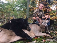 2018: Bradford Quigley of Mosquitoville, VT shot his first buck, an 8-pointer, and his first bear, a 155-pounder, during youth weekend of 2018.  Both were taken of Camp Squaw in Hamilton County