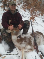 2018: Adam Mitchell, age 18 of Granville, NY with his first Adirondack buck; a piebald 7-pointer that weighed 116-pounds taken Nov. 25 with the Iron Site Gang in Hogtown, NY.
